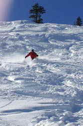 An Accommodation Tahoe Guest enjoys a down hill run at Homewood Mountain Ski Resort